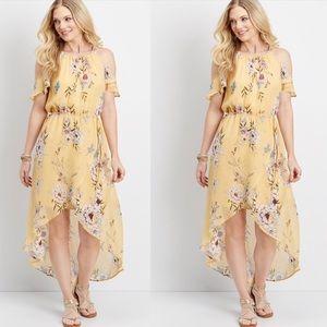 Maurices Yellow Floral Off Shoulder Hi Lo Dress L